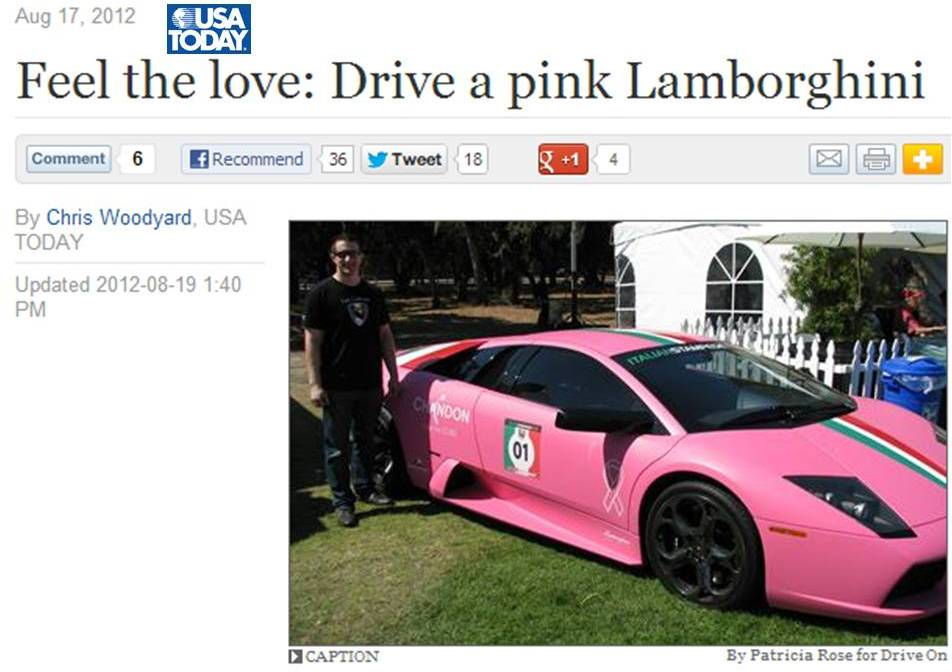 Pink Lamborghini USATODAY Article Feature